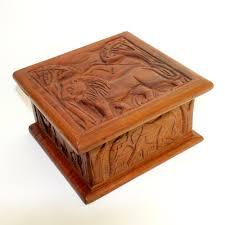wooden box lion