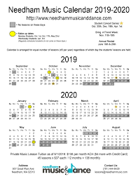 Plain Calendar 2020 Plan Ahead 2019 2020 Calendar Needham Music Dance