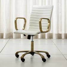home office desk chairs chic slim. Ripple Ivory Leather Office Chair With Brass Frame Home Desk Chairs Chic Slim