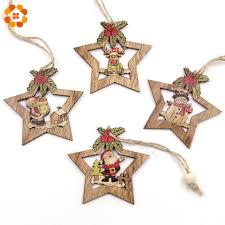 4 Stücke Weihnachtsstern Holz Anhänger Ornamente Weihnachtsbaum Ornament Diy Holz Handwerk Kinder Geschenk Für Zuhause Weihnachtsfeier Dekorationen