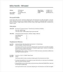 free personal employment history simple personal profile template word marketing wordpress