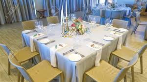 Reception Table Set Up Square Silver And White Themed Wedding Reception Banquet Table