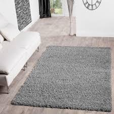 Hochflor Shaggy Teppich Preishammer Uni Einfarbig In Grau Modern Größe120x170 Cm