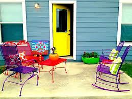 colorful patio furniture yellow door