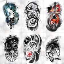 Rodina Rose Time Clock Lebka Dočasné Tetování Nálepka Scorpion Věž