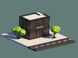 Cartoon Office 3d Model Cartoon Low Poly Office Building Cgtrader