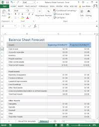 Excel Template Balance Sheet Forecast Templates Forms