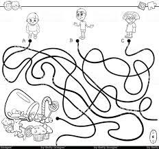 Paden Doolhof Met De Kinderen En Snoep Boek Kleurplaten