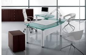 amazing glass office desk design with white swivel chair and 2 white armchairs thumbnail black glass office desk