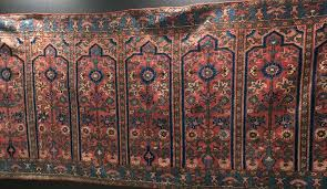 of interest too were a kashgar saf multi person prayer rug from the 18th century when people must have been much narrower than they are now
