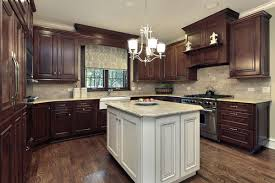 dark stained kitchen cabinets. Plain Kitchen Rich Dark Stained Kitchen Cabinets Accentuated By A Painted Island Nice  Lighting And High End To Dark Stained Kitchen Cabinets