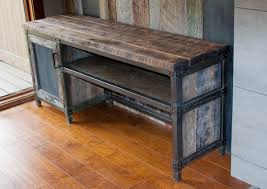 industrial metal and wood furniture. Credenza Made With Barn Wood Industrial Metal And Furniture Patina Yard