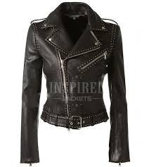 womens black leather studded biker jacket