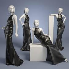 woman mannequin leather dress long