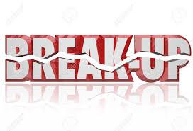 Break Up Broken Words In Red 3d Letters To Illustrate A Divorce
