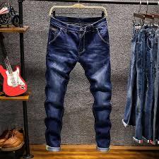 <b>2019 Men's New</b> Jeans Blue Stretch Ankle length Pants <b>Ripped</b> ...