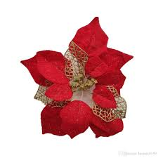 Großhandel 100 Stücke 1315172022 Cm Weihnachtsblumen Künstliche Weihnachtsstern Blüte Gold Pulver Weihnachtsbaum Dekorationen Hochzeit Party Decor