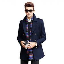 brand clothing jacket men wool coat double ted pea coats men long wool6580 deep blue