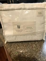 wamsutta vintage washed linen full queen duvet cover in winter white