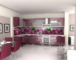 modern kitchen backsplash with glass material and fruits graphic