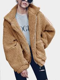 camel cozy oversize zip up faux fur coat