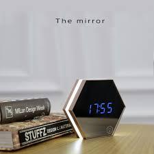 Creative Multi Function Mirror Clock Stylish Minimalist Luminous Bedroom  Clock Night Light Touch Alarm Clocks