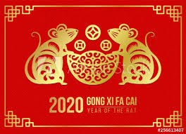 chinese new year card 2020 happy chinese new year 2020 card with gold paper cut twin
