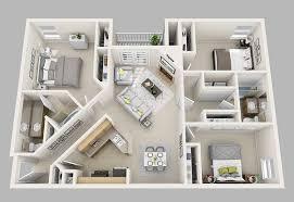 floor plan 3d. Three Bedroom: 3 Bedroom/2 Bath- 1320 Sq. Ft. Floor Plan 3d