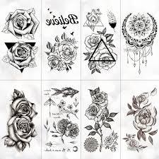 Nové Vodotěsné Dočasné Tetování Nálepka Old School Růže Vzor