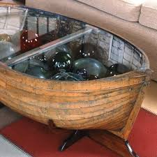 Boat Glass Coffee Table With Display Of Glass Floats