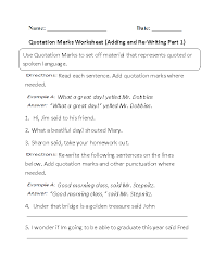 Adding and Re-Writing Quotation Marks Worksheet | Writing ...