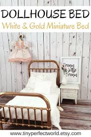 Dollhouse Bed | Miniature Bed, white and gold dollshouse bed, 1:12 scale  modern bed, Incy Interiors Inspired miniature bed, modern miniature  furniture ...