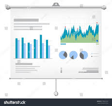 Investment Charts And Graphs Financial Charts Graphs On Projector Screen Stock Vector