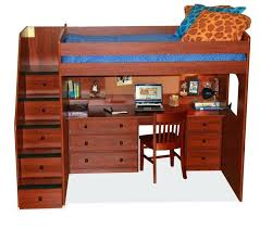 loft bed with storage and desk this rich toned wood bed features a lavish desk below