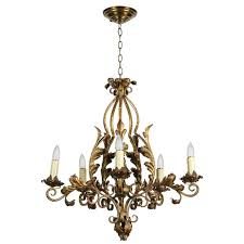 1940s five light gold painted wrought iron chandelier with decorative leaves for