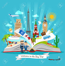 travel book cartoon open tour guide book with vector trip elements stock vector 61832966