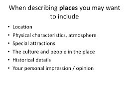 describe a place essay example co describe