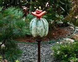 cactus art garden sculpture ceramic cactus blue bloomy cactus garden stake garden art yard art garden decor ceramic garden totem