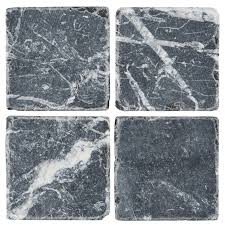 tumbled marble tile. Nero Marquinia Tumbled Marble Tile Swatch