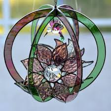 original design stained glass suncatcher 3d flowers hummingbird dusty rose and green