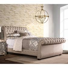 upholstered leather sleigh bed. Best Home: Captivating Tufted Sleigh Bed Of Harmony Upholstered Natural Beds From Leather .