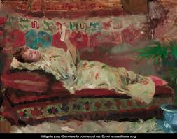 reclining woman in kimono by albert emelie artigue oil on canvas