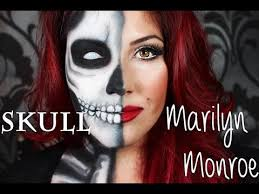 half skull and half marilyn monroe clic eyes and red lip makeup tutorial