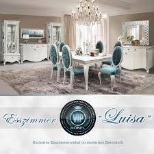 Esszimmer Komplett Set Luisa Exclusive Esszimmermöbel Modernes Barock Weiß Mit Silberner Patina
