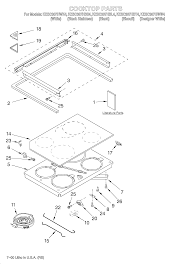 Kesc307hbt4 electric slide in range cooktop literature parts diagram
