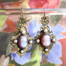 antique cameo earrings victorian circa 1890 s carnelian cameo pearl drop chandelier earrings 14k gold