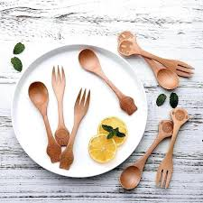 details about baby wooden spoons forks infant eating tongue pressing type made usa