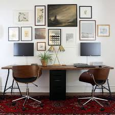 double office desk. twoperson ikea desk with lerberg trestle legs and karlby countertop wallmounted double office o