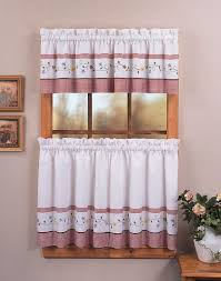 wonderful contemporary kitchen window treatment with stylish white and red fabric cafe curtain plus valance