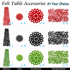 table felt accessories  runner placemats coasters dollies